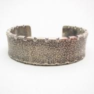 Chris Billie Navajo Tufa Cast Filed Rim Silver Cuff Bracelet