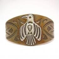 Antique Silver Thunderbird Patch Copper Cuff Bracelet c.1930
