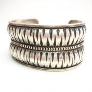 Dyaami Lewis Acoma Double Repoused Wide Cuff Bracelet  L