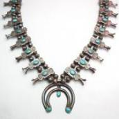 Antique Box Bow Squash Blossom Naja Necklace  c.1930