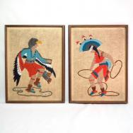 Vintage Pueblo Dancer Embroidery Wall Hangings  c.1970