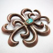 Antique Cast Pin Brooch with Turquoise  c.1930~