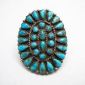 Antique Zuni Cluster Ring w/Turquoise  c.1930~
