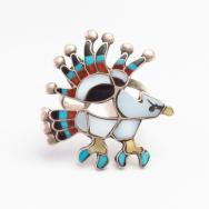 【Charlotte Dishta】 Zuni Multi-Stone Inlay Eagle Silver Ring