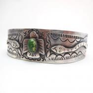 Antique Thunderbird/Snake/卍 Motif Ingot Silver Cuff  c.1930