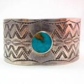 Antique Navajo Wide Stamped Silver Cuff w/TQ  c.1940~