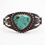 Antique Split Wire Cuff Bracelet w/Drilled Turquoise c.1915~