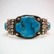 【Mark Chee】 Navajo Wide Cuff with Kingman Turquoise  c.1950~