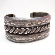 Vintage Repoused & Twisted wire Heavy Wide Bracelet  c.1940~