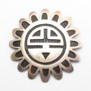 Vintage 【Hopi Guild】 SunFace SilverOverlay Pin & Fob c.1960~