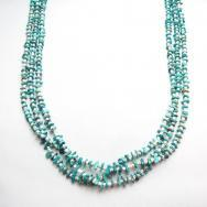 Vintage 3 Strand Heishi Necklace w/Turquoise Beads  c.1970
