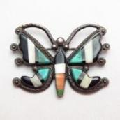 Vintage Zuni Mosaic Inlay Butterfly Shape Pin Brooch c.1950~