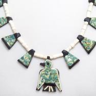 Antique SantoDomingo Three Tone Thunderbird Necklace c.1930~