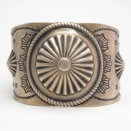Vintage Repoused & Stamped Wide Cuff Bracelet  c.1940