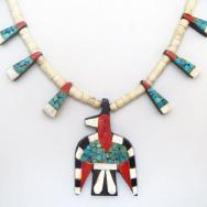 Atq SantoDomingo Thunderbird/Batterybird Necklace  c.1940~