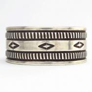 Antique Stamped Heavy IngotSilver Wide Cuff Bracelet c.1930~