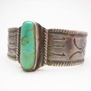 Antique Navajo Chiseled Silver Wide Cuff Bracelet  c.1920