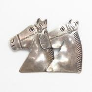 Antique Navajo Horse Heads Stamped Silver Pin Brooch c.1930~