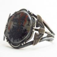 Vtg 【U.S. Air Force】 Cuff Bracelet w/PetrifiedWood c.1947~