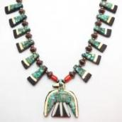 Antique Santo Domingo Thunderbird & Silver Bead Necklace