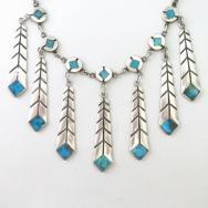 Vintage Zuni Turquoise Inlay Feather Dangle Necklace  c.1950