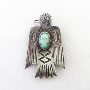 Antique Navajo Thunderbird Shaped Ingot Silver Pin  c.1925~