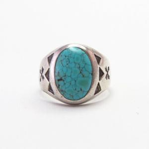 Vintage Silver Tourist Ring w/Gem Grade #8 Turquoise c.1945~