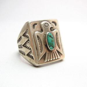 Antique Thunderbird Patched Silver Ring w/TQ c.1940