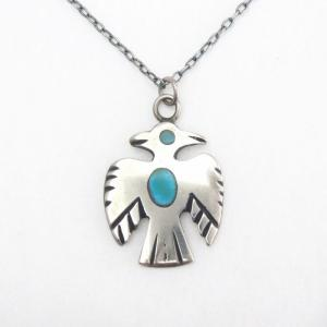 Vintage Zuni Turquoise Inlay Thunderbird Top Necklace c.1960