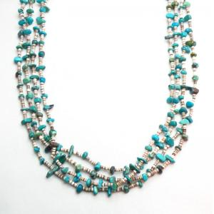 Vintage Turquoise & Shell Bead 4 Strand Necklace