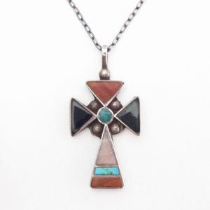 Vintage Zuni Multi-Stone Inlay Cross Fob Necklace  c.1955~