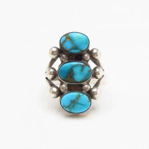 Vtg Navajo Three Gem Quality Turquoise Row Ring  c.1940~