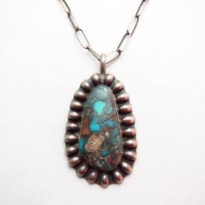 Vintage Bisbee Turquoise Fob Handmade Chain Necklace  c.1970