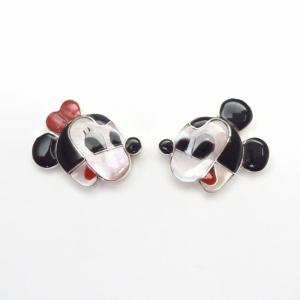 【Paula Leekity】 Zuni Inlay『Mickey & Minnie』Pierced Earrings