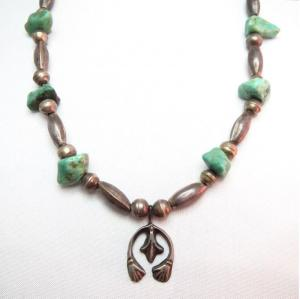 Vintage Silver Beads Necklace w/Small Naja c.1950~