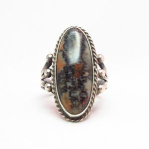 Antique Split Shank Silver Ring w/PetrifiedWood  c.1930~