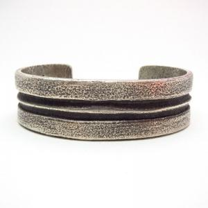 Chris Billie Navajo Tufa Cast Linear Silver Cuff Bracelet