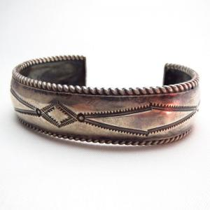Antique Twistedwire & Stamped Silver Cuff  c.1930~