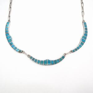 Vintage Zuni Blue Gem Turquoise Inlay Necklace  c.1950~