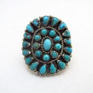 Vintage Zuni Turquoise Cluster Silver Ring  c.1960