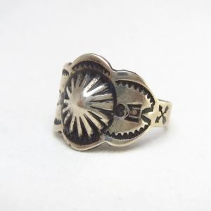 Antique Concho Repoused Men's Silver Tourist Ring  c.1930~