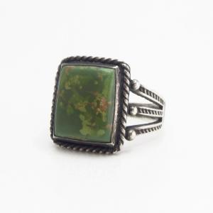Atq Navajo Split Shank Men's Ring w/Square Turquoise c.1930~
