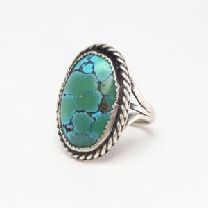Vintage Navajo Number Eight Turquoise Silver Ring  c.1950