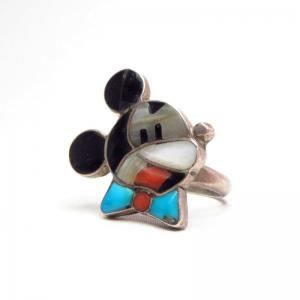 Zuni Vintage Channel Inlay Mickey Face Small Ring  c.1960~