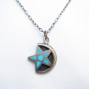 Vintage Zuni Turquoise Inlay Star & Moon Fob Necklace c.1950