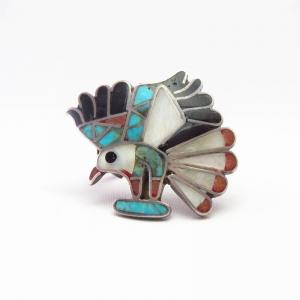 Vintage Zuni Multi-Stone Inlay Eagle Silver Ring  c.1970