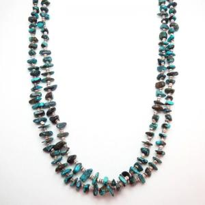 Vintage 2 Strands SpiderWeb Turquois Heishi Necklace c.1970