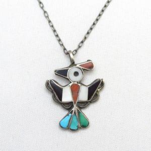 Vintage Zuni Inlay Thunderbird/Hopibird Fob Necklace c.1950~