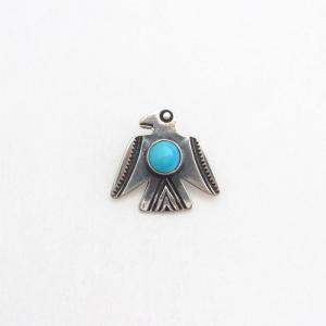 Vtg Small Thunderbird Shape Silver Pin w/Turquoise  c.1940~
