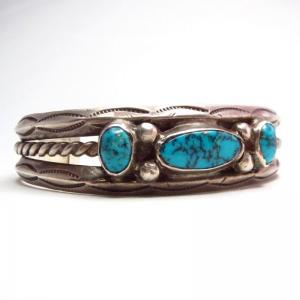 Vintage Navajo Lone Mt. Turquoise Row Cuff Bracelet  c.1950